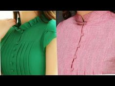 Latest closed neck designs with button for Kurtis/Suits/Kurtas - YouTube Neck Designs For Suits, Dress Neck Designs, Collar Designs, Sleeve Designs, Collar Kurti Design, Kurta Neck Design, Kurta Designs, Blouse Designs, Indian Designer Outfits