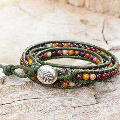 Handcrafted Leather and Agate Wrap Bracelet - Forest Enchantment | NOVICA