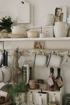 "Nowadays, more and more people are utilizing the ""shabby chic"" approach to interior design and decoration. Kitchen Decor, Kitchen Design, Kitchen Storage, Kitchen Stuff, Kitchen Shelves, Dish Storage, Kitchen Plants, Kitchen Display, Shelf Display"