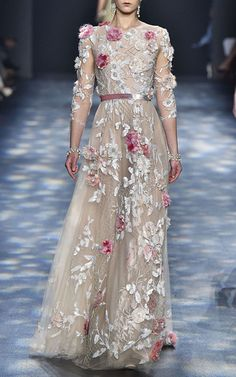 Tulle A Line Ball Gown  by MARCHESA for Preorder on Moda Operandi
