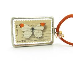 Butterfly Postage Stamp Necklace with 1977 Orange-Tip butterfly stamp
