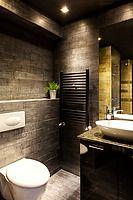 Modern dark bathroom by Aleksandar Novoselski - Stocksy United Contemporary Interior Design, Bathroom Interior Design, Bathroom Styling, Asian Bathroom, Modern Bathroom, French Country House, French Country Decorating, Bathroom Renovations, Home Remodeling