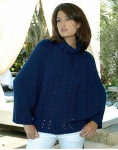 Вязаные накидки пончо спицами. Объемный пуловер-пончо спицами | Вязание для всей семьи