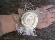 Ivory Wrist Corsage, Burlap and Lace Flower Cuff, Burlap Wedding, Wristlet, Wedding, Rustic Wedding, Mother of Bride Groom, Neutral