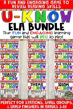 U-Know is a fun and engaging game that can be used in a wide variety of ways! Great for test prep, review, early finishers, small groups, centers and more. Practice many ELA skills in this way and have students begging for more. Covers context clues, vocabulary, prefixes and suffixes, roots, figurative language, text structure, cause and effect, fact and opinion, synonyms and antonyms, author's purpose, text features, idioms, and more to come! #elagames #testprep #reviewgames