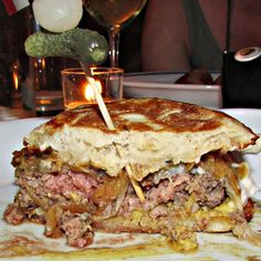Inside the French Onion Soup Burger at Little Prince in Soho.