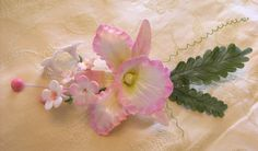 PINK CATTLEYA ORCHID Floral Spray / Gum Paste / by lenabender48