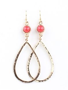 Hammered Teardrop Earrings with Stones — Pink Mascara