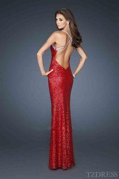 Elegant Sleeveless Long Red V-neck Prom Dresses In Stock tzdress3760