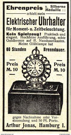 Werbung - Original-Werbung/ Anzeige 1902 - ELEKTRISCHER UHRHALTER / JONAS - HAMBURG - ca. 45 x 80 mm