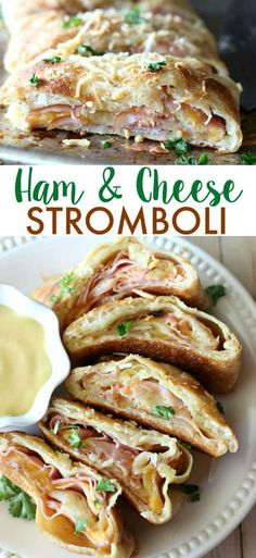 Easy Ham and Cheese Stromboli - Ham - Ideas of Ham - This Ham and Cheese Stromboli is SO GOOD! Pizza crust is stuffed with honey mustard monterrey jack cheese and smoky Black Forest Ham then baked to a crispy and cheesy perfection! Pork Recipes, Cooking Recipes, Snacks Für Party, Italian Recipes, Love Food, Honey Mustard, Food To Make, Food Porn, Gastronomia