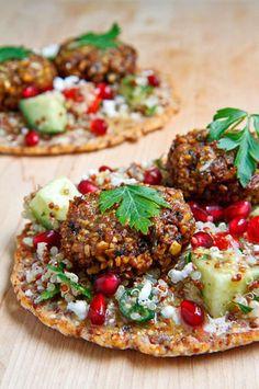 Quinoa Flatbread with Tabbouleh, Falafel, Feta and Pomegranate