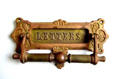 Antique/Vintage Brass Mail Slot Doorknocker Once adorning an old front door of a…