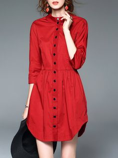Shop Mini Dresses - Red A-line 3/4 Sleeve Shirt Dress online. Discover unique designers fashion at StyleWe.com.