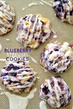 These Blueberry Streusel Cookies are so good you wont know they came from boxed muffin mix! Hearty soft pillows of juicy blueberry goodness theyre simple to make and are great for breakfast too! These Blueberry Streusel Cookies are so good. Delicious Cookie Recipes, Chocolate Cookie Recipes, Easy Cookie Recipes, Yummy Cookies, Baking Recipes, Chocolate Chips, Chocolate Cake, Monster Cookie Recipes, Cookie Monster