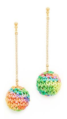 Venessa Arizaga earrings with sparkling strands of crystals and colorful crocheted baubles. Post closure.
