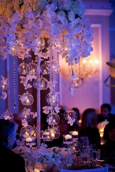 glass bubble tea lights and orchid centerpieces by Tantawan Bloom Quince Themes, Quince Decorations, Wedding Decorations, Quince Ideas, Debut Decorations, Aisle Decorations, Christmas Decorations, Orchid Centerpieces, Wedding Table Centerpieces