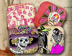 Mexican DOD coasters Day of the Dead hostess by DayOfTheDeadRealm, $9.99
