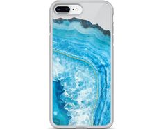 Geode, Agate, Phone Case, Iphone 7 Case, Gold, Gift For Her, Clear Case, Iphone X, Agate Phone Case, Blue Stone