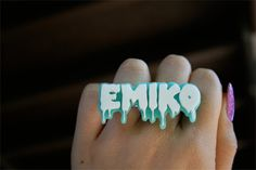 Mini Custom Horror Font Name Plate Ring 15 letters by emikoshop, $15.00