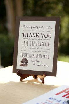a special thank you i'd like to have at the entrance or even in the program