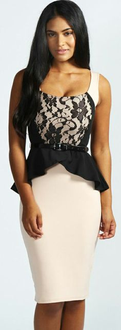 Cute Nude + Black Dress with Lace Top and Peplum