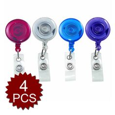 a5ba4d7c497 GOGO Translucent Retractable ID Card Reels, 30-Inch Extension Assorted  Colors 4/Pack