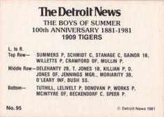 1981 Detroit News Detroit Tigers #95 1909 Tigers Back