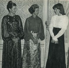 """gracescans: """" Her Serene Highness Princess Grace of Monaco and her daughter, Princess Caroline, are photographed with the Belgian Queen Fabiola in the 1970s. """" Princess Grace is wearing a dress by..."""