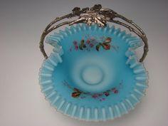 Antique Victorian Satin Glass Silver Figural Brides Basket Bowl.