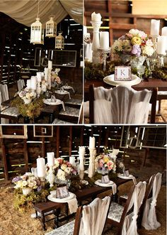 Rustic meets vintage...loving the white theme and the candles on the table at the bottom