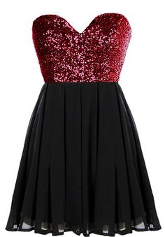 Glitter Fever Dress: Features a striking sweetheart neckline, glittering red sequin bodice, centered rear zip closure, and a beautifully gathered A-line skirt to finish.