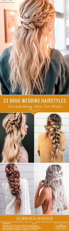 33 Overwhelming Boho Wedding Hairstyles ❤️ Here you will find a plethora of boho wedding hairstyles for any tastes, starting with elegant braided updos and ending with some creative solutions. See more: http://www.weddingforward.com/boho-wedding-hairstyles/