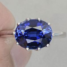 Vintage 5.60CT Oval Crown Cut Kashmir Blue Sapphire Promise Engagement Anniversary Wedding Ring Size 6