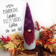 Fall is here! See more cute gnomes at my shop flowervalleygnomes on Etsy