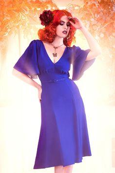 Laura Byrnes California Viva Dress in Blue Crepe