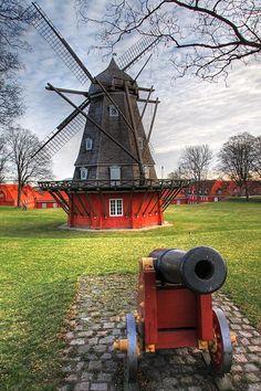 Kastellet windmill & canon, Copenhagen, Denmark