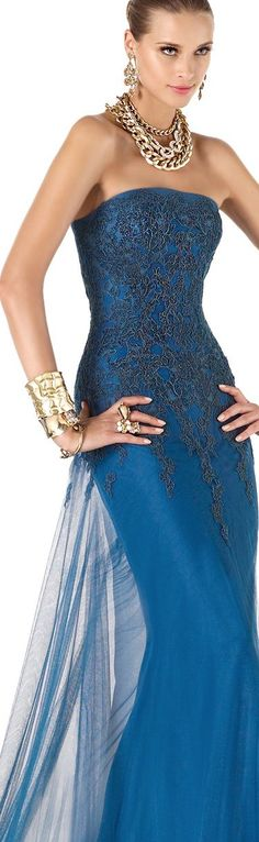 Pronovias blue dress women fashion outfit clothing style apparel @roressclothes closet ideas