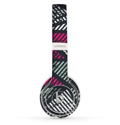 The Abstract Striped Vibrant Trangles Skin Set for the Beats by Dre Solo 2 Wireless Headphones