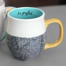 "This color-blocked ""Be Joyful"" mug is a great way to start your day and makes a great gift too. 16 oz Be Joyful Mug: White with grey, aqua and yellow Coffee Is Life, I Love Coffee, Coffee Shop, Coffee Cups, Coffee Ingredients, Coffee Maker Reviews, Coffee Cup Design, Cute Mugs, Mug Cup"