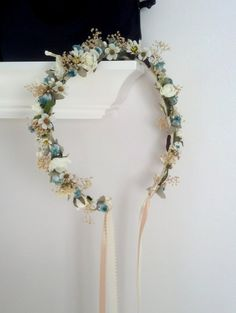 bridal Floral Crown aqua teal Daisy Hippie by AmoreBride on Etsy, $46.95