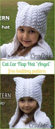 "Knit Cat Ear Flap Hat ""Angel"" Free Pattern - Fun Kitty Cat Hat Free Knitting Patterns"
