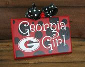 "UGA GEORGIA Girl GA Bulldogs ""Ready to Ship"" Wall Decor with Bow"