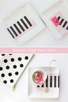 DIY Decoupage Tissue Paper Trays