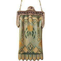 Gorgeous Vintage Whiting & Davis Enameled Painted Mesh Bag