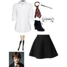 A fashion look from October 2015 featuring white shirt, flared skirts and harry potter costumes. Browse and shop related looks. Harry Potter Halloween Costumes, Harry Potter Cosplay, Harry Potter Outfits, Halloween Costumes For Teens, Halloween House, Mode Harry Potter, Harry Potter Fiesta, Estilo Harry Potter, Fantasias Halloween