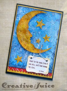 Creative Juice: Show It With Words Tim Holtz moon and stars card