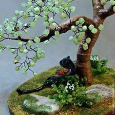 """Купить Дерево из оникса с черной пантерой """"Чандраканта"""" - разноцветный, черный, оникс натуральный, зеленый, пантера"""