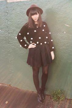 black pom pom sweater - navy skater skirt