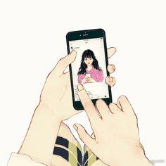 韓國살구 salgoolulu動態圖 Animated Gif Illustrator by 살구 salgoolulu Gifs, Cute Couple Art, Chibi Characters, Korean Art, Aesthetic Gif, Creative Pictures, Cute Gif, Cute Illustration, Mode Style